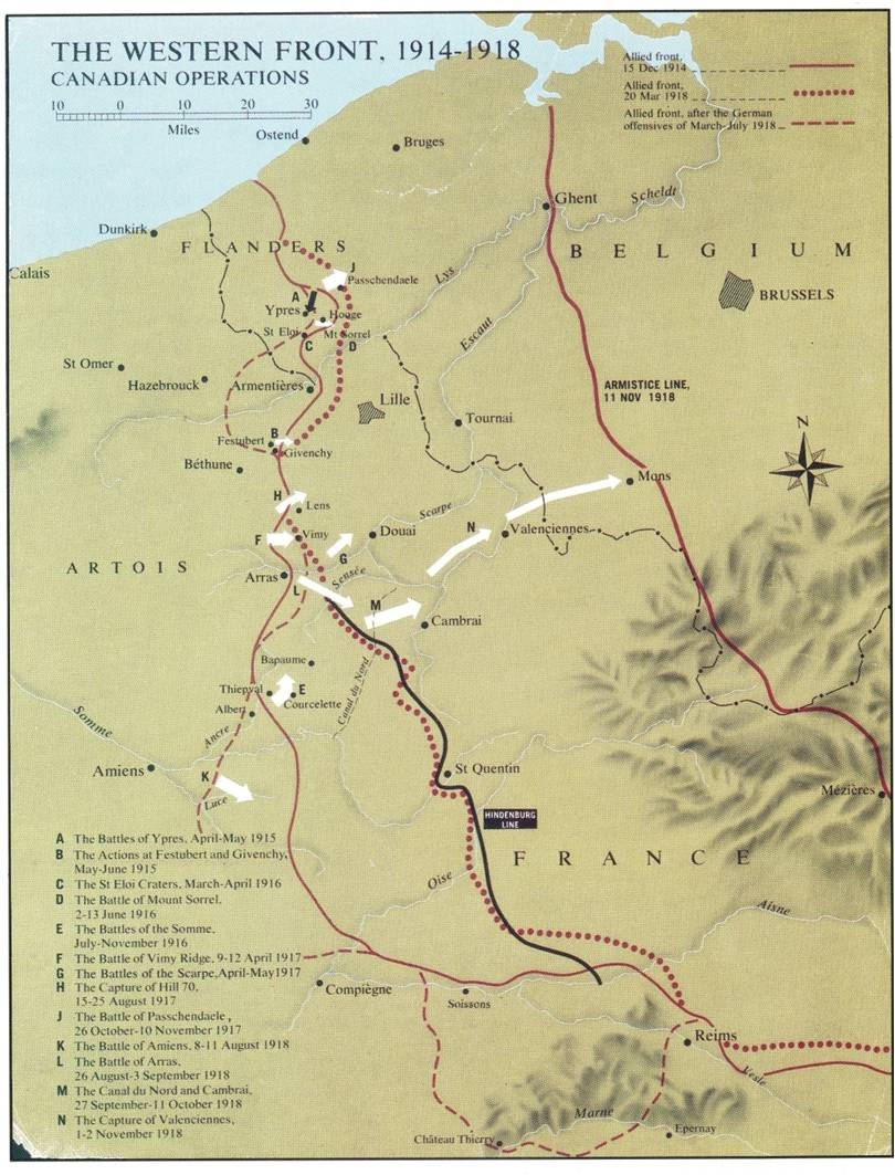 Map Of France Vimy.France And Flanders 15th Battalion Cef