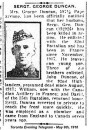 Duncan Pte George Ford 29 Apr 1918 Roclincourt Military Cemetery