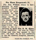 Glenn Pte Roy William 6 Oct 1918 Les Baraques Military  Cemetery