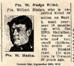 Madget Pte Wilbert 2 Sept 1918 Dominion Cemetery