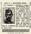 Mathers Pte Thomas John 9 Apr 1917  Quatre-Vents Military Cemetery