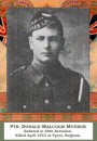 Munroe Pte Donald M 24 April 1915 Menin Gate