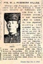 Passmore Pte William John 26 Sept 1916 Vimy Memorial