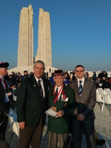 Centenary ceremony 9 April 2017 Vimy National Memorial. Left to right: European Project Team Leader Simon Godly; LtCol Richard Read (ret) whose father was at Vimy with the 15th Battalion; and Robert Lindsay from Belfast whose grandfather was killed in action with the 15th Battalion on 9 April 1917.