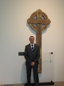 Robert Lindsay of Belfast visits the 15th Battalion's Vimy cross on display at the new Vimy Visitor Education Centre on 8 April 2017 during the Centre's Official opening. His grandfather's name, Pte Robert Lindsay ,appears on the cross and he is buried in Nine Elms Cemetery, Thelus.
