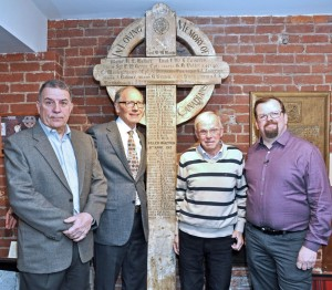 15th Battalion Memorial Project Chairman, BGen Greg Young (ret) and relatives of men whose names appear on the Battalion's Vimy cross. Left to right: Richard Merritt (Pte Orlando Wilcox); Joseph Mclauchlin (Pte J. Owens); and Scott Kean (Pte E. Keen) All were attending the CBC filming of the cross' return to France for Vimy 100.